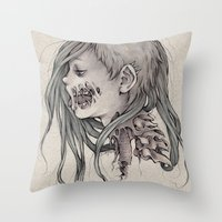 gore Throw Pillows featuring Gore Girl by Savannah Horrocks
