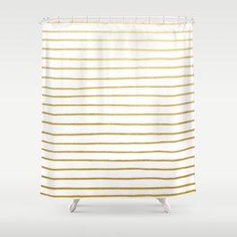 Gold Paris Stripe Pattern Shower Curtain