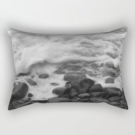 White Waves on Black Rocks Photographic Print Rectangular Pillow