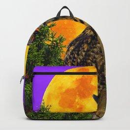 LONG-EARED OWL & MOON PANTENE PURPLE  ART DESIGN Backpack