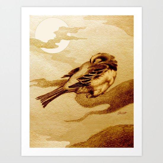 Sparrow by Moonlight Art Print
