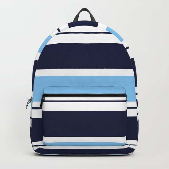Blue Navy and Turquoise Stripes Backpack