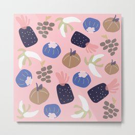 Cute pattern of fruits and vegetables Metal Print