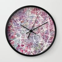 madrid Wall Clocks featuring Madrid map by MapMapMaps.Watercolors