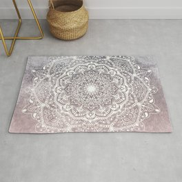 NATURE DETAILS MANDALA IN GRAY AND PINK Rug