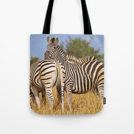 Life of the Zebras, Africa wildlife Tote Bag