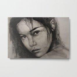 Graphic art, painting coal portrait pretty girl Metal Print