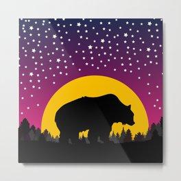 Bear Stars Moon Metal Print