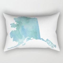 Watercolor State Map - Alaska AK blue green Rectangular Pillow