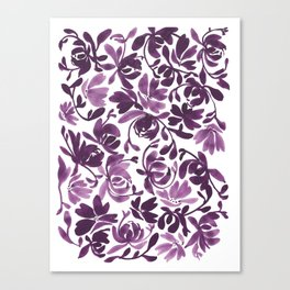 Purple Peonies and Poppies Canvas Print