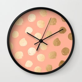 Sweet Life Polka Dots Peach Coral + Orange Sherbet Shimmer Wall Clock