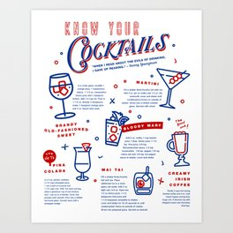 Know Your Cocktails Art Print
