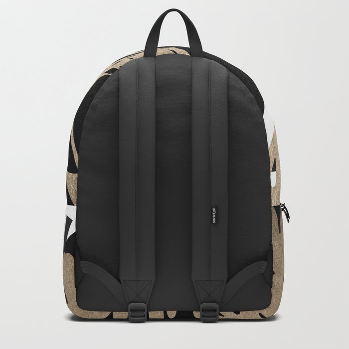 Simply Tropical Midnight Black Memphis Palm Leaves Backpack