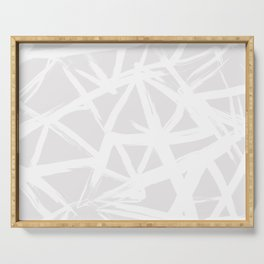 Modern white abstract geometric brushstrokes light grey Serving Tray