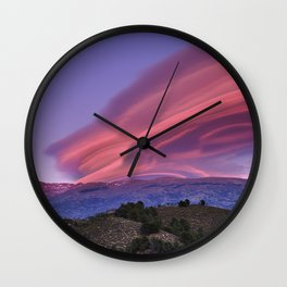 Lenticular Clouds At Sunset. Sierra Nevada. Caballo Mountain. 3.009 Meters Wall Clock