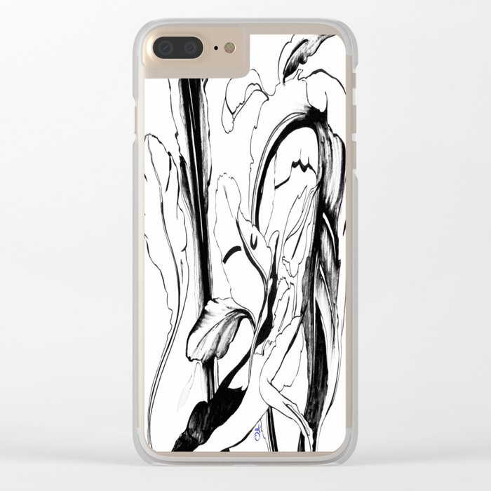 Plant in Blue Marker - Leaf of Life Miracle Leaf - Black and White Clear iPhone Case