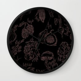 Black and White Produce Pattern Wall Clock