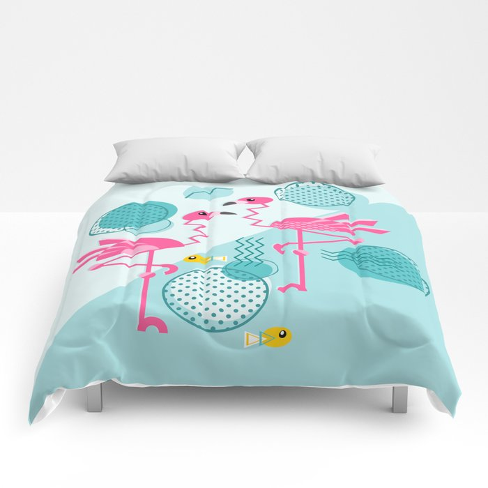 1980's Memphis Style Pink Flamingos Comforters