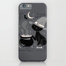 Cat Witch - Mid Century Vintage Grey iPhone Case