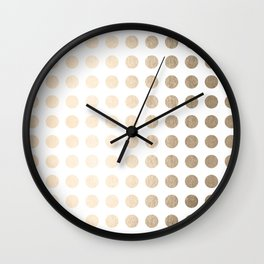 Simply Polka Dots in White Gold Sands Wall Clock