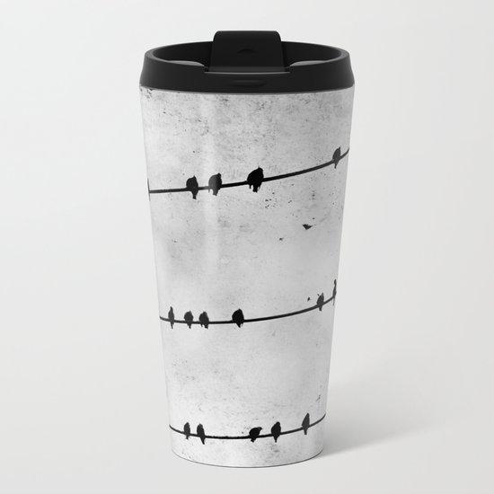 Birds on a Wire Metal Travel Mug