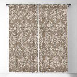Coffee Color Damask Chenille with Lacy Edge Blackout Curtain