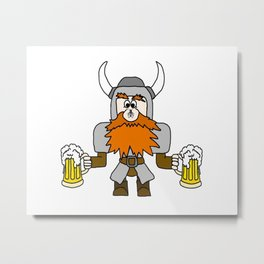 Funny Dwarf with Fly and Beers Metal Print