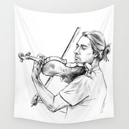 Violinist plays music Wall Tapestry