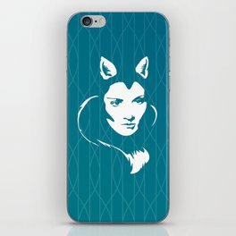 Faces - foxy lady Marlene on a teal wavey background iPhone Skin