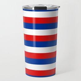 blue white red stripes Travel Mug