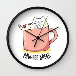 Pawfee Break Cute Coffee Pun Wall Clock