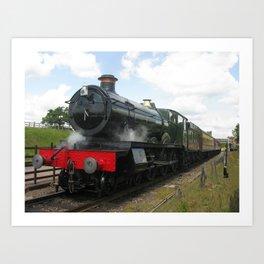 Vintage steam engine railway train Art Print