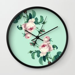 Roses Mint Green + Pink Wall Clock