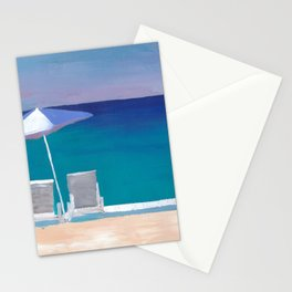Beach Chair and Parasol on the Beach Stationery Cards