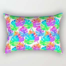 Watercolor Monstera Leaves in Neon Rainbow + White Rectangular Pillow