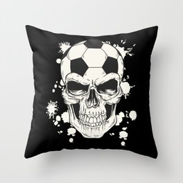Football Skull - Soccer Skull Throw Pillow
