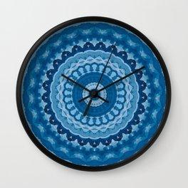 blue mandala 1 Wall Clock