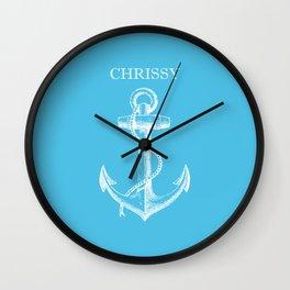 Chrissy Anchor - Blue Wall Clock