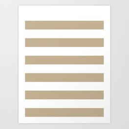 Horizontal Stripes - White and Khaki Brown Art Print