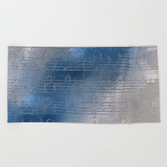 Silver music Beach Towel