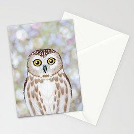 Northern saw whet owl woodland animal portrait Stationery Cards