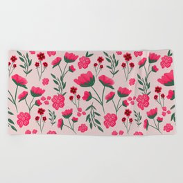 Pink Poppies Seamless Illustration Beach Towel