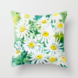 Chamomile Flowers, Herval design Field flowers wild flowers floral art Throw Pillow