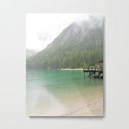 Rainy morning on the lake Metal Print