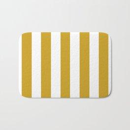 Lemon curry brown - solid color - white vertical lines pattern Bath Mat