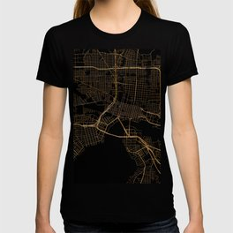 Black and gold Jacksonville map T-shirt