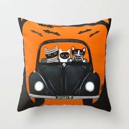 A Spooky Halloween Drive Throw Pillow