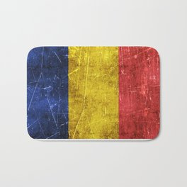 Vintage Aged and Scratched Romanian Flag Bath Mat