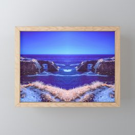 Early Morning Infrared Symmetrical Image of a Rocky Cove in Mendocino, California Framed Mini Art Print