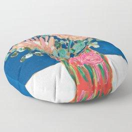Protea in Enamel Flamingo Tumbler Painting Floor Pillow